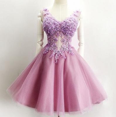 Beautiful V-Neck Sleeveless Short Prom Dress UK Appliques Tulle Homecoming Dress UK_3