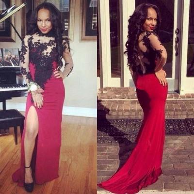 Luxury Long Sleeves Black Lace Evening Dress UKes UK Long Slit Party Gowns_3
