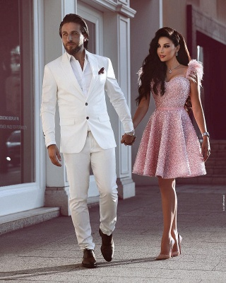 A-Line Beading Homecoming Dress UK | Luxury Feather Pink Party Dress UK_3
