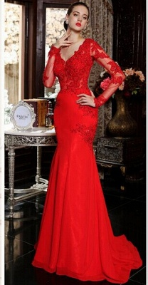 Elegant red long sleeve mermaid prom Dress UK with lace appliques sweep train_5