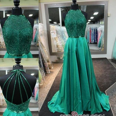 Halter-Neck Dark-Green Amazing Net-Design-Top Long Prom Dress UKes UK BA4331_1