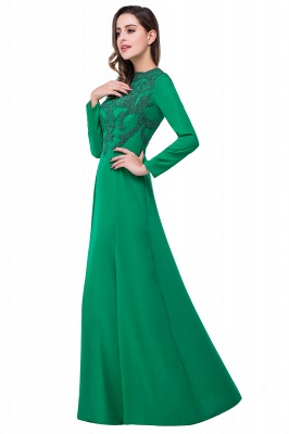 Sexy Green Long Sleeve Beadings Evening Dress UK Long Chiffon Party Gowns_5