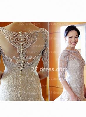 Train Wedding Dresses UK Bridal Gowns Beads Sequins Appliques Bateau Long Sleeves Button Back Court A-line_5