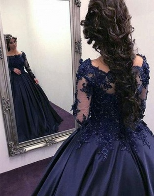 Navy Long Slaeeves Prom Dress UK | Ball-Gown Evening Gowns On Sale_4