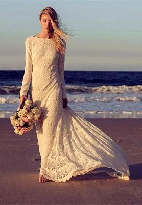 Newest Long Sleeve Lace Wedding Dress Court Train_1