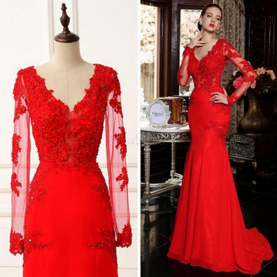 Elegant red long sleeve mermaid prom Dress UK with lace appliques sweep train_4