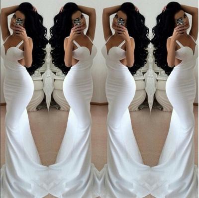 Modern White Mermaid Prom Dress UKes UK Backless Sleeveless_4