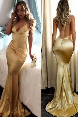 Yellow Halter V-neck Prom Dress UK   Mermaid Evening Party Gowns_1