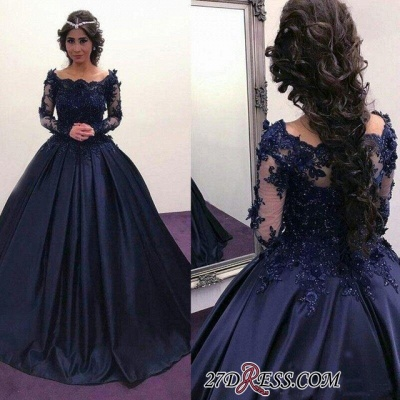 Navy Long Slaeeves Prom Dress UK | Ball-Gown Evening Gowns On Sale_3