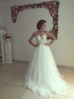 Elegant Sleeveless Lace Appliques Wedding Dress Tulle Zipper Back_7