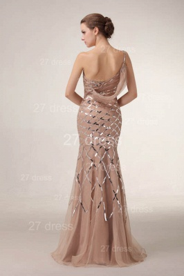 One Shoulder Mermaid Prom Gowns Sequined Sweep Train Evening Dress UKes UK_4
