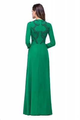 Sexy Green Long Sleeve Beadings Evening Dress UK Long Chiffon Party Gowns_6