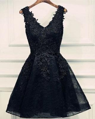 Lace-Up Black Short V-Neck Beading Lace-Appliques Homecoming Dress UKes UK BA6904_5