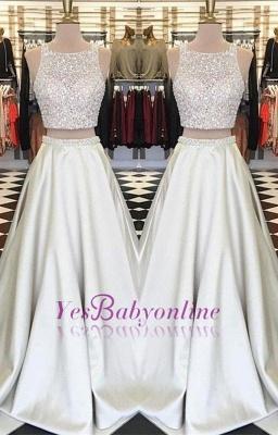 Luxury Crystals A-line Sleeveless Jewel Two-Piece Prom Dress UK_2