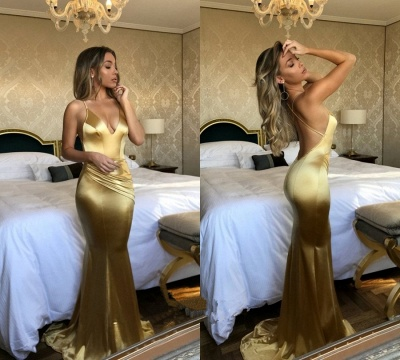 Yellow Halter V-neck Prom Dress UK   Mermaid Evening Party Gowns_3