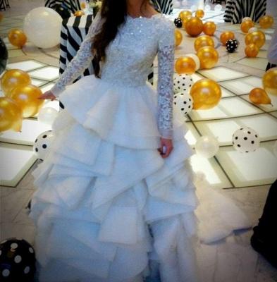 Elegant Beadss Lace Appliques Wedding Dress Ruffles Court Train_5