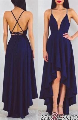 A-line Spaghetti-StrapS Hi-Lo Sleeveless Elegant Prom Dress UK_2