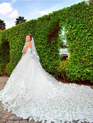 Elegant Appliques Cystals Princess Wedding Dress Sweetheart With Long Train_5