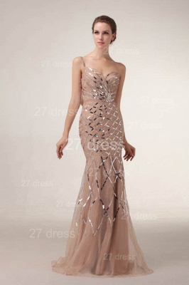 One Shoulder Mermaid Prom Gowns Sequined Sweep Train Evening Dress UKes UK_2