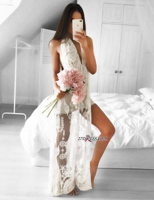 Sleeveless Front-Split Mermaid V-neck Lace Elegant Floor-length Prom Dress UK_3