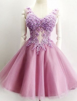 Beautiful V-Neck Sleeveless Short Prom Dress UK Appliques Tulle Homecoming Dress UK_1