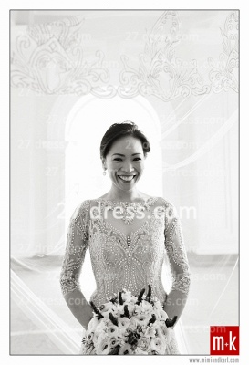 Train Wedding Dresses UK Bridal Gowns Beads Sequins Appliques Bateau Long Sleeves Button Back Court A-line_3