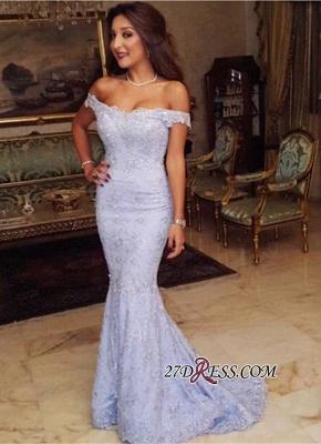 Sweep-Train Modest Lace Mermaid Off-the-shoulder Prom Dress UK BA7592_2