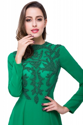 Sexy Green Long Sleeve Beadings Evening Dress UK Long Chiffon Party Gowns_4