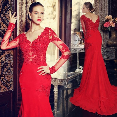 Elegant red long sleeve mermaid prom Dress UK with lace appliques sweep train_3