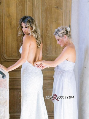 Long Gorgeous Spaghetti-Strap Sleeveless Backless Lace Wedding Dress_2