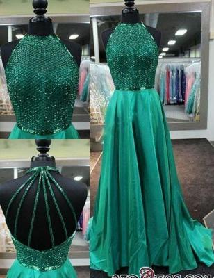 Halter-Neck Dark-Green Amazing Net-Design-Top Long Prom Dress UKes UK BA4331_2
