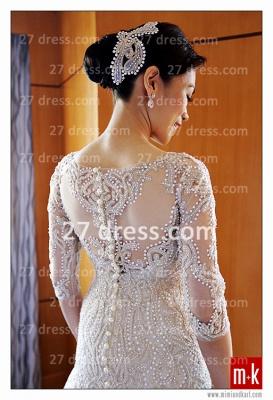 Train Wedding Dresses UK Bridal Gowns Beads Sequins Appliques Bateau Long Sleeves Button Back Court A-line_4