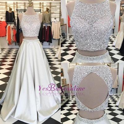 Luxury Crystals A-line Sleeveless Jewel Two-Piece Prom Dress UK_1