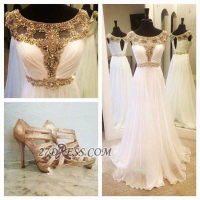 Gorgeous A-line Jewel Chiffon Prom Dress UK Floor-length Cap Sleeve Beadings Evening Gown_3