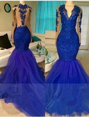 V-neck Royal-Blue Mermaid Beading Sequins Tulle Appliques Long-Sleeve Prom Dress UKes UK_3