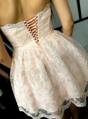 Hot Sale Lace Homecoming Dress UK Sweetheart Lace-up Short Prom Dress UK_3