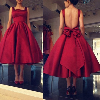 Modest Red Open Back Prom Dress UK Bow Square Tea Length BA6645_3