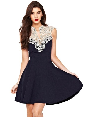 Beautiful Lace Cap Sleeve Short Prom Dress UK A-Line Homecoming Dress UK_1
