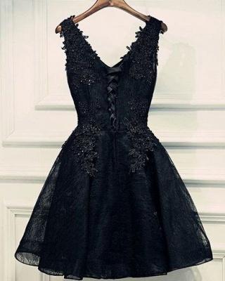 Lace-Up Black Short V-Neck Beading Lace-Appliques Homecoming Dress UKes UK BA6904_3