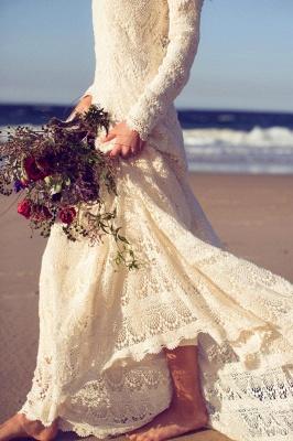 Newest Long Sleeve Lace Wedding Dress Court Train_3