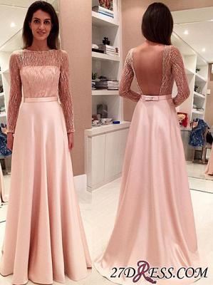 Gorgeous Long Bowknot Open-Back Long-Sleeve Evening Dress UK PT040_3