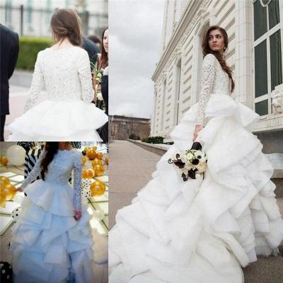 Elegant Beadss Lace Appliques Wedding Dress Ruffles Court Train_3