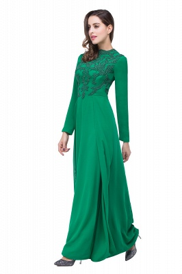 Sexy Green Long Sleeve Beadings Evening Dress UK Long Chiffon Party Gowns_3