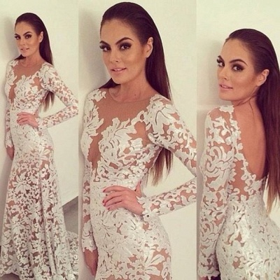 Elegant Lace Long Prom Dress UK Sleeve Sheath See Through Evening Party Gowns_2