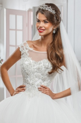 Elegant Illusion Cap Sleeve Tulle Wedding Dress Ball Gown With Lace Appliques_2