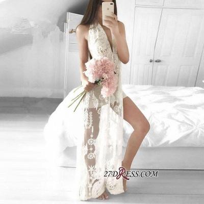 Sleeveless Front-Split Mermaid V-neck Lace Elegant Floor-length Prom Dress UK_2