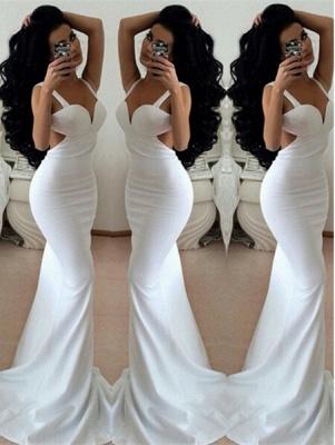 Modern White Mermaid Prom Dress UKes UK Backless Sleeveless_1