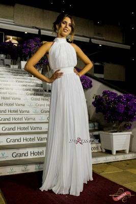 Long High-Neck White Ruched Chiffon Sexy Prom Dress UK_1