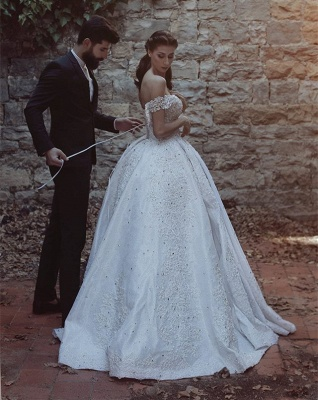 Elegant Off-the-Shoulder Lace Wedding Dress Ball Gown Beads Wedding Reception_4