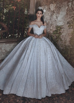 Elegant Off-the-Shoulder Lace Wedding Dress Ball Gown Beads Wedding Reception_1